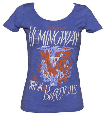 Ladies Blue For Whom The Bell Tolls Scoop Neck T-Shirt from Out Of Print
