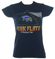 Ladies Blue Pink Floyd '77 Animals Tour T-Shirt