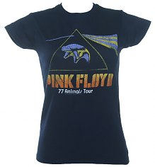 Ladies Blue Pink Floyd '77 Animals Tour T-Shirt [View details]