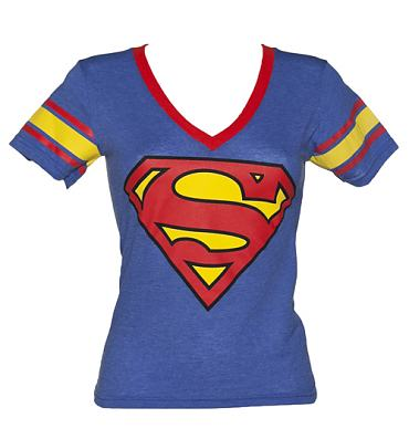Ladies Blue Superman V-Neck T-Shirt