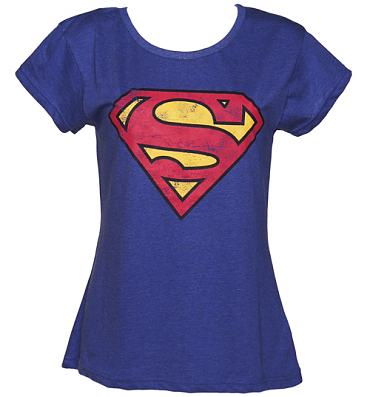 Ladies Blue Wash Scoop Neck Superman Logo T-Shirt from Fabric Flavours