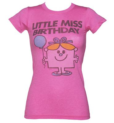 Ladies Bright Pink Little Miss Birthday T-Shirt from Junk Food