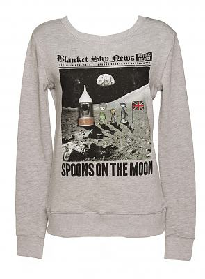 Ladies Button Moon Spoon On The Moon Sweater