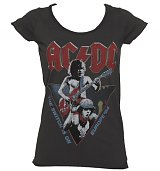 Ladies Charcoal AC/DC Europe Tour 1984 T-Shirt from Amplified Vintage