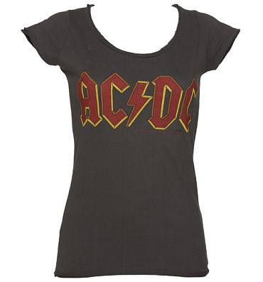 Ladies Charcoal AC/DC Logo T-Shirt from Amplified Vintage