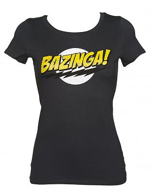 Ladies Charcoal Bazinga Logo Big Bang Theory Scoop Neck T-Shirt