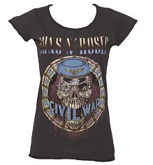 Ladies Charcoal Civil War Guns N Roses T-Shirt from Amplified Vintage [View details]