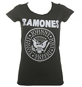 Ladies Charcoal Classic Ramones Logo T-Shirt from Amplified Vintage