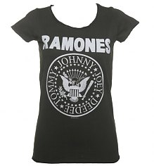 Ladies Charcoal Classic Ramones Logo T-Shirt from Amplified Vintage [View details]