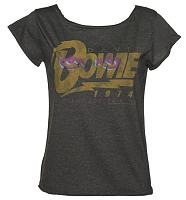 Ladies Charcoal David Bowie 1974 Tour Scooped Neck T-Shirt from Amplified Vintage