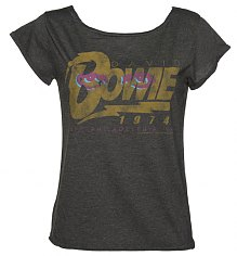 Ladies Charcoal David Bowie 1974 Tour Scooped Neck T-Shirt from Amplified Vintage [View details]