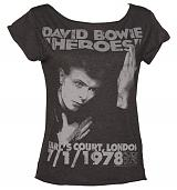 Ladies Charcoal David Bowie Heroes London 1978 Scooped Neck T-Shirt from Amplified Vintage