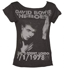 Ladies Charcoal David Bowie Heroes London 1978 Scooped Neck T-Shirt from Amplified Vintage [View details]