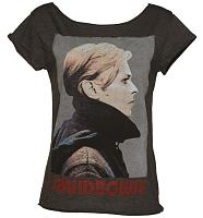 Ladies Charcoal David Bowie Skater T-Shirt from Amplified Vintage