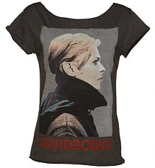 Ladies Charcoal David Bowie Skater T-Shirt from Amplified Vintage [View details]