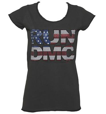 Ladies Charcoal Diamante Run DMC T-Shirt from Amplified Vintage