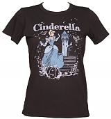 LIMITED EDITION Ladies Charcoal Disney Cinderella Magical Scene T-Shirt from Junk Food