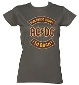 Ladies Charcoal For Those About To Rock AC/DC Logo T-Shirt