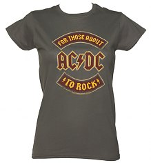 Ladies Charcoal For Those About To Rock AC/DC Logo T-Shirt [View details]
