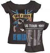 Ladies Charcoal Guns N Roses 1991 Tour Front And Back Print Skater T-Shirt from Amplified Vintage