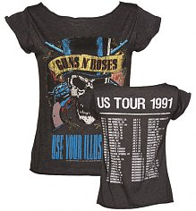 Ladies Charcoal Guns N Roses 1991 Tour Front And Back Print Skater T-Shirt from Amplified Vintage [View details]