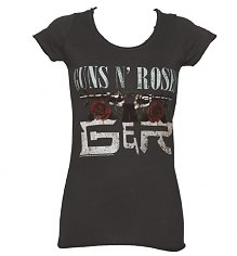 Ladies Charcoal Guns N Roses Street of Dreams T-Shirt from Amplified Vintage [View details]
