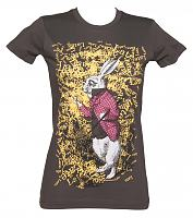 Ladies Charcoal Late Rabbit Alice In Wonderland T-Shirt
