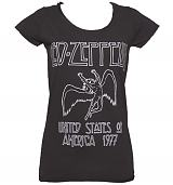 Ladies Charcoal Led Zeppelin USA 1977 T-Shirt from Amplified Vintage