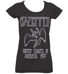 Ladies Charcoal Led Zeppelin USA 1977 T-Shirt from Amplified Vintage [View details]