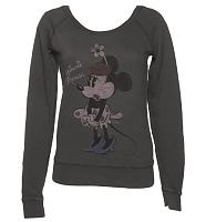 Ladies Charcoal Minnie Mouse Premium Off The Shoulder Slouch Pullover from Junk Food
