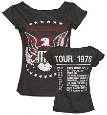 Ladies Charcoal Ramones 1976 Tour Front And Back Print Skater T-Shirt from Amplified Vintage [View details]