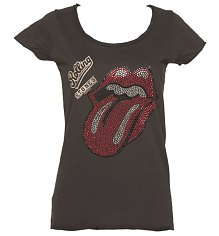 Ladies Charcoal Rolling Stones Diamante Tongue T-Shirt from Amplified Vintage [View details]