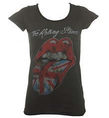 Ladies Charcoal Rolling Stones UK Tongue T-Shirt from Amplified Vintage [View details]