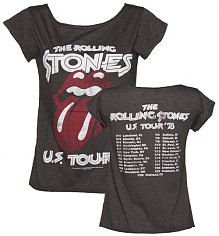 Ladies Charcoal Rolling Stones US Tour 78 Skater Front And Back Print T-Shirt from Amplified Vintage [View details]