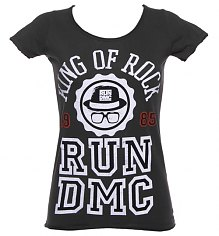 Ladies Charcoal Run DMC King Of Rock 1985 T-Shirt from Amplified Vintage [View details]