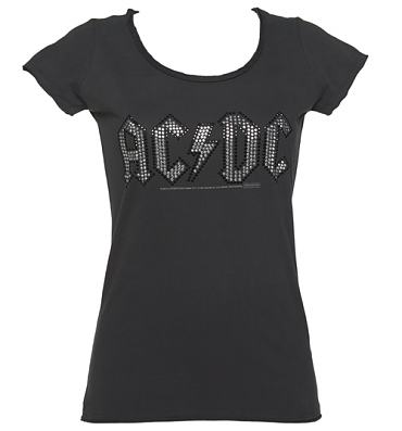 Ladies Charcoal Silver And Black Diamante AC/DC Logo T-Shirt from Amplified Vintage