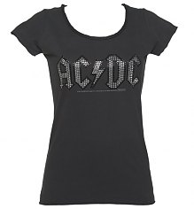 Ladies Charcoal Silver And Black Diamante AC/DC Logo T-Shirt from Amplified Vintage [View details]