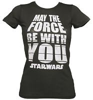 Ladies Charcoal Star Wars May The Force Be With You T-Shirt from Mighty Fine