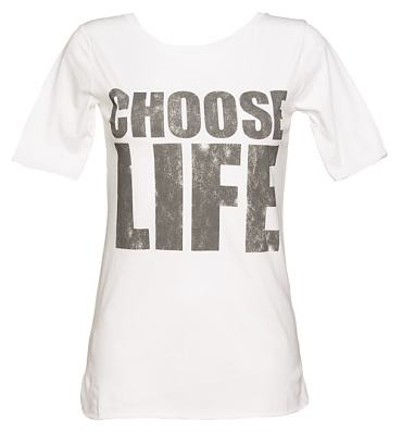 Ladies Choose Life White Slouch Scoop Neck T-Shirt