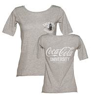 Ladies Grey Marl Coca-Cola University Scoop Neck