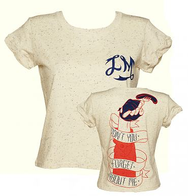 Ladies Cream Speckled Don't You Forget About Me Cropped Slouch T-Shirt from Illustrated Mind