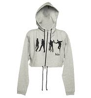 Ladies Cropped Beatles Silhouette Jump Grey Marl Hoodie