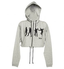 Ladies Cropped Beatles Silhouette Jump Grey Marl Hoodie [View details]