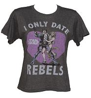 LIMITED EDITION Ladies Dark Grey Marl I Only Date Rebels Star Wars Cropped T-Shirt from Junk Food