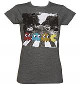 Ladies Dark Heather Pac-Man Abbey Road T-Shirt