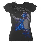 Ladies Diamante Michael Jackson Charcoal T-Shirt from Amplified