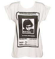 Ladies Ecru Boyfriend Fit Bob Dylan Poster Print T-Shirt from Worn By