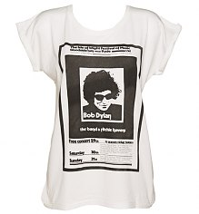 Ladies Ecru Boyfriend Fit Bob Dylan Poster Print T-Shirt from Worn By [View details]