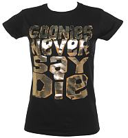 Ladies Foil Print Goonies Never Say Die T-Shirt