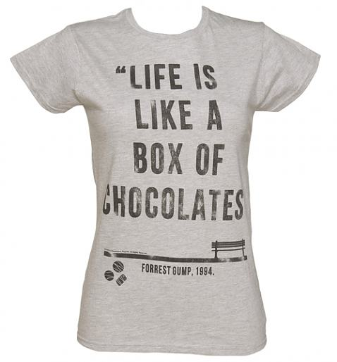 Ladies Forrest Gump Box Of Chocolates Quote T-Shirt from TruffleShuffle